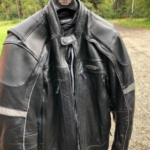 Leather motorcycle coat